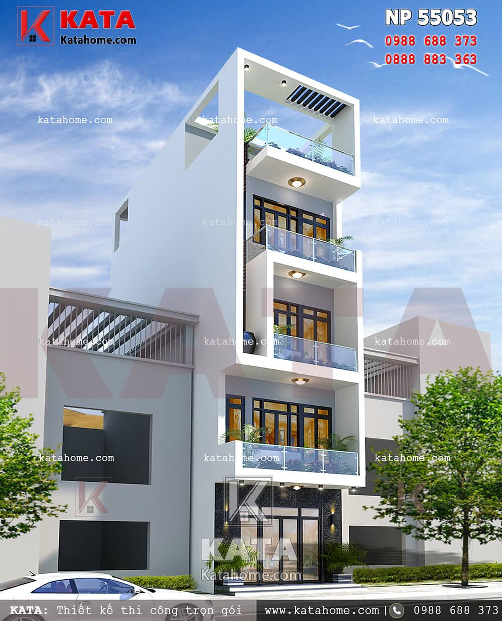 Phối cảnh mẫu nhà phố 5 tầng kết hợp kinh doanh - Mã số: NP 55053