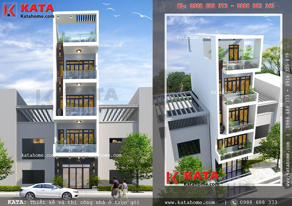 Mẫu thiết kế nhà phố 5 tầng đẹp 5x20m tại Cầu Giấy – Mã số: NP 55053