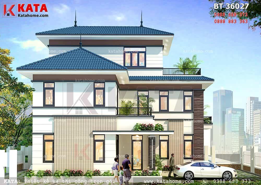 Kiến trúc mẫu thiết kế biệt thự mái Thái 3 tầng đẹp tại Hưng Yên - Mã số: BT 36027