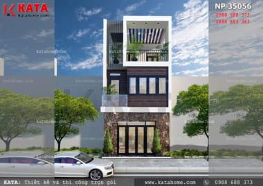 Thiết kế nhà ống đẹp 3 tầng tại Đà Nẵng - Mã số: 35056