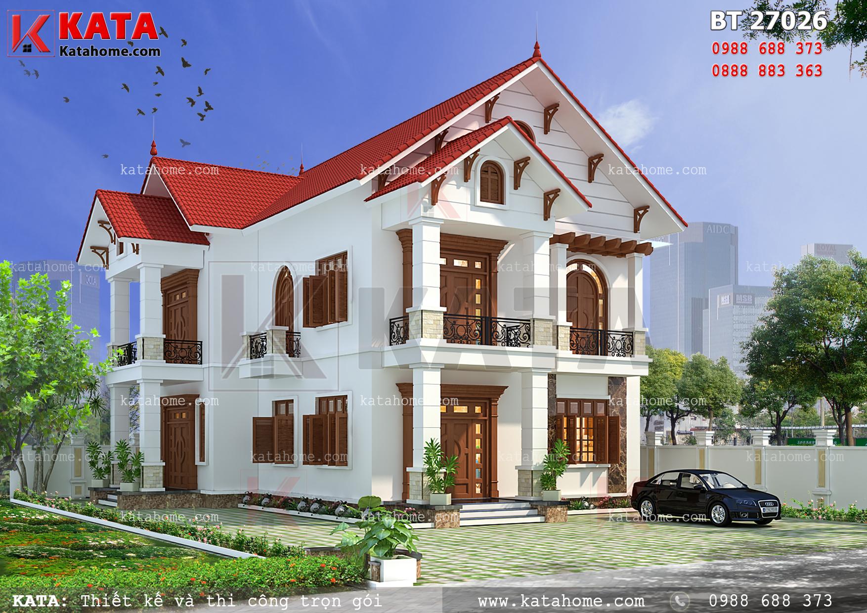 Kiến trúc mái thái mang đạm nét đẹp Á Đông dành cho mẫu thiết kế nhà biệt thự 2 tầng