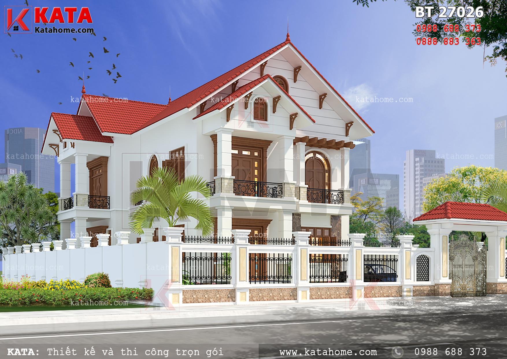 Mẫu thiết kế nhà biệt thự 2 tầng đẹp với hệ mái thái đỏ tươi