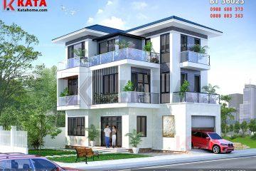 Phối cảnh mẫu biệt thự 3 tầng hiện đại mái Thái theo phong cách kiến trúc hiện đại