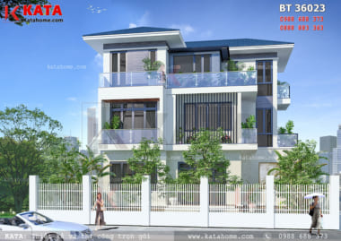 Hệ thống mái Thái màu xanh giúp cho tổng thể mẫu biệt thự 3 tầng hiện đại mái Thái trở nên vô cùng hoàn hảo