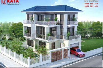 Hệ thống sân vườn giúp cân bằng hệ thống màu sắc của mẫu biệt thự 3 tầng hiện đại mái Thái