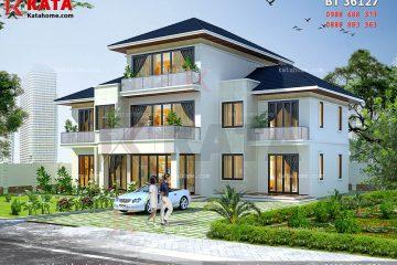 Không gian kiến trúc hiện đại của mẫu nhà đẹp 2.5 tầng của gia đình anh Đinh Nguyễn Hoàng Hà tại Lai Châu