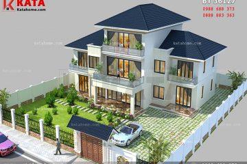 Hệ thống mái Thái và sân vườn giúp nâng tầm đẳng cấp cho mẫu nhà 2.5 tầng đẹp tại Lai Châu