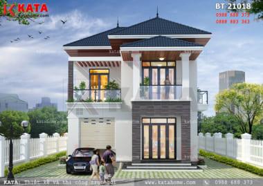 Phối cảnh mặt tiền của mẫu biệt thự mini 2 tầng mái Thái tại Phú Thọ