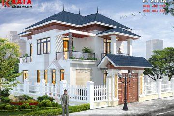 Hệ thống mái Thái cao cấp được tích hợp vào mẫu biệt thự mini 2 tầng này