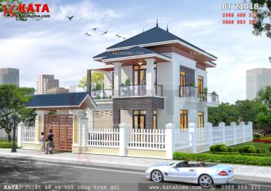 Phối cảnh mặt trước của mẫu biệt thự mini 2 tầng mái Thái
