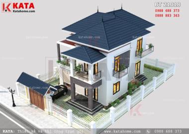 Bố cục hài hòa của sân vườn và mẫu biệt thự mini 2 tầng mái Thái
