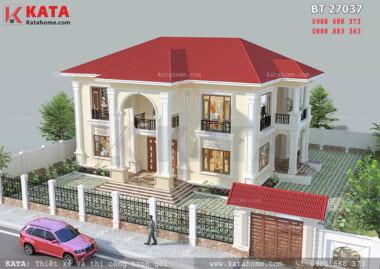 Thiết kế nhà đẹp 2 tầng BT 27037
