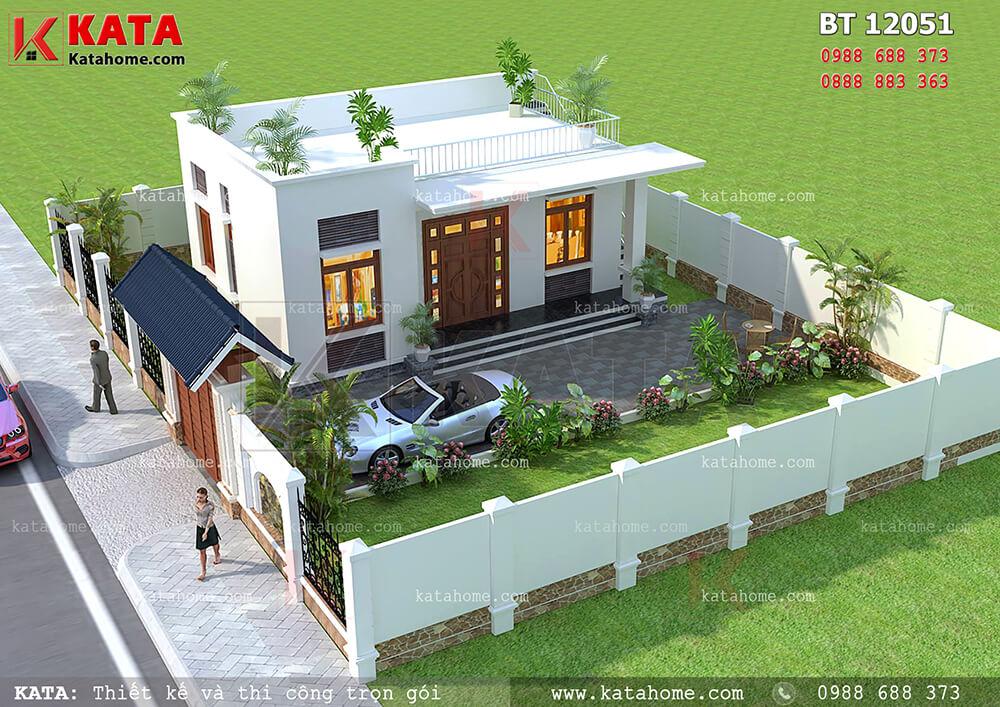 Toàn cảnh mẫu thiết kế nhà mái bằng 1 tầng đẹp hoàn hảo với sân vườn đẳng cấp