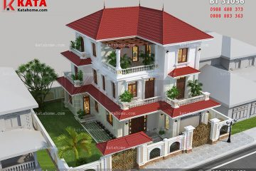 Tổng thể mẫu thiết kế biệt thự đẹp 3 tầng hiện đại đẹp hoàn hảo với không gian sân vườn