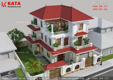 Bản vẽ biệt thự 3 tầng mái thái tại Phú Thọ BT 31056