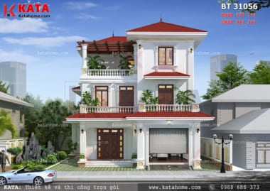 Phối cảnh mặt tiền của mẫu thiết kế biệt thự đẹp 3 tầng hiện đại tại Phú Thọ