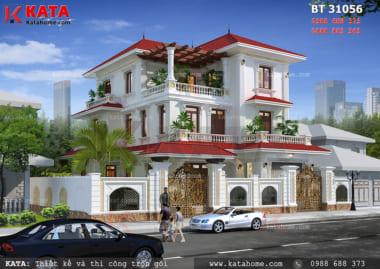 Toàn cảnh mặt tiền của mẫu thiết kế biệt thự đẹp 3 tầng hiện đại của gia đình anh Duy tại Phú Thọ