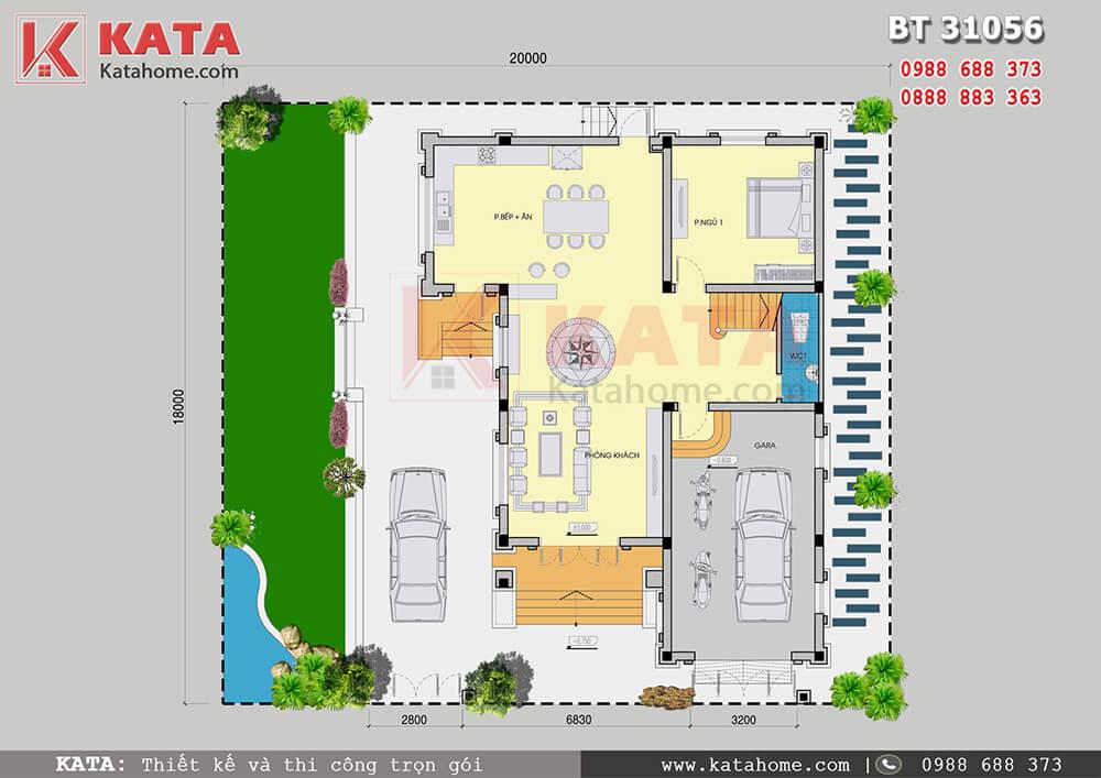 Mặt bằng công năng tầng trệt của mẫu thiết kế biệt thự đẹp 3 tầng hiện đại