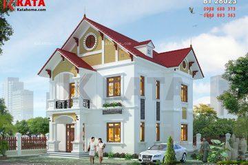 Phối cảnh thiết kế kiến trúc biệt thự tân cổ điển với mặt tiền rộng rãi