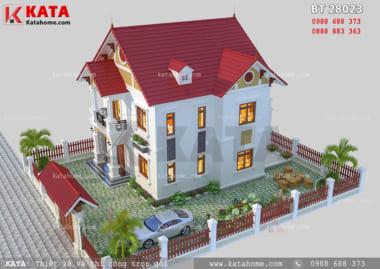 Phối cảnh của mẫu thiết kế biệt thự 2 tầng tân cổ điển tại Vĩnh Phúc đẹp hoàn hảo nhờ hệ thống tiểu cảnh sân vườn