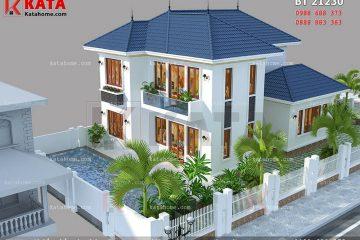 Hệ thống mái Thái hiện đại, sang trọng của mẫu thiết kế biệt thự vườn 2 tầng tại Vĩnh Phúc
