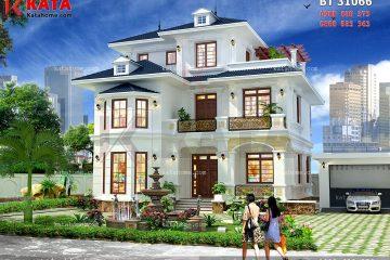 Phối cảnh chi tiết của mẫu nhà mái Thái 3 tầng đẹp của gia đình anh Nguyễn Viết Hoàng Hà tại Nghệ An - Mã số: BT 31066