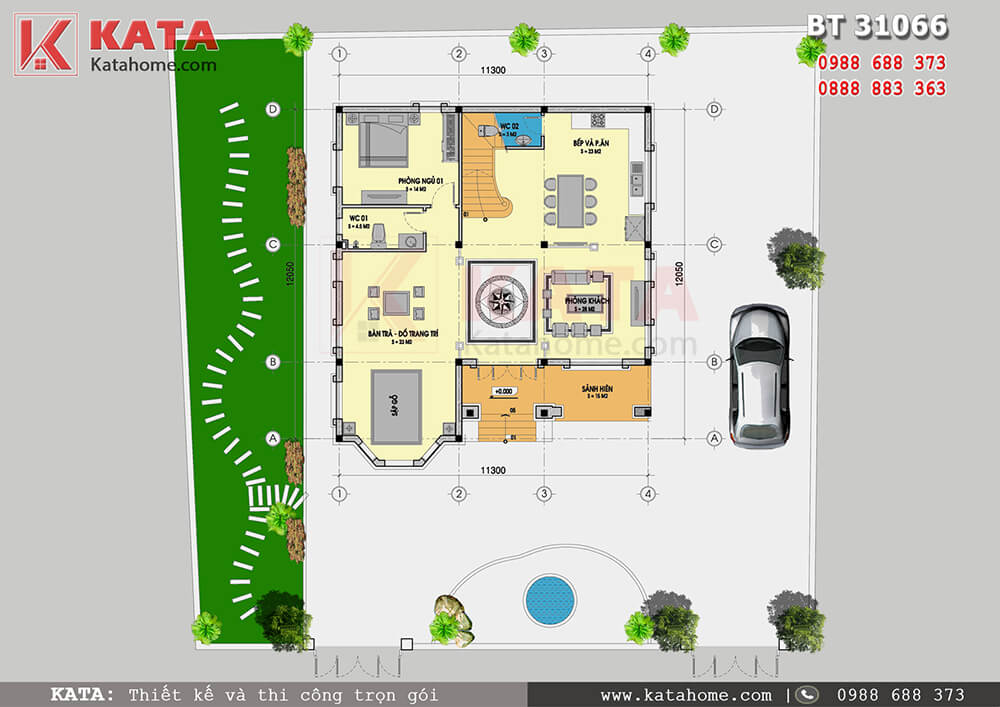 Bố cục công năng tầng 1 của mẫu nhà mái Thái 3 tầng đẹp tại Thái Nguyên - Mã số: BT 31066