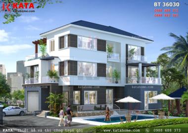 Phối cảnh tổng thể 3D chi tiết về mặt trước của mẫu nhà đẹp 3 tầng mái Thái - Mã số: BT 36030