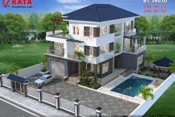 Hệ thống sân vườn, bể bơi, tiểu cảnh đã giúp cho căn nhà đẹp 3 tầng mái Thái trở nên hoàn hảo hơn bao giờ hết