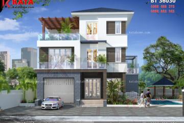 Phối cảnh mặt tiền của mẫu nhà đẹp 3 tầng mái Thái tại Hà Tĩnh - Mã số: BT 36030