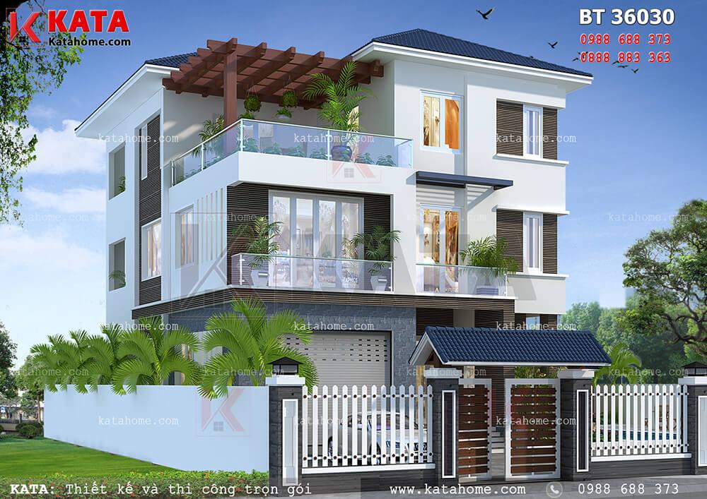 Hệ thống mái Thái giúp cho tổng thể kiến trúc hiện đại của căn nhà đẹp 3 tầng mái Thái càng thêm phần nổi bật
