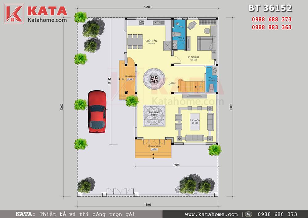 Mặt bằng công năng tầng 1 của mẫu nhà 3 tầng hiện đại của gia đình anh Khuất Quang Hưng tại Quảng Ninh