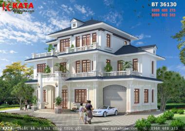 Phối cảnh tổng thể của căn nhà 3 tầng mái Thái đẹp - Mã số: 36130