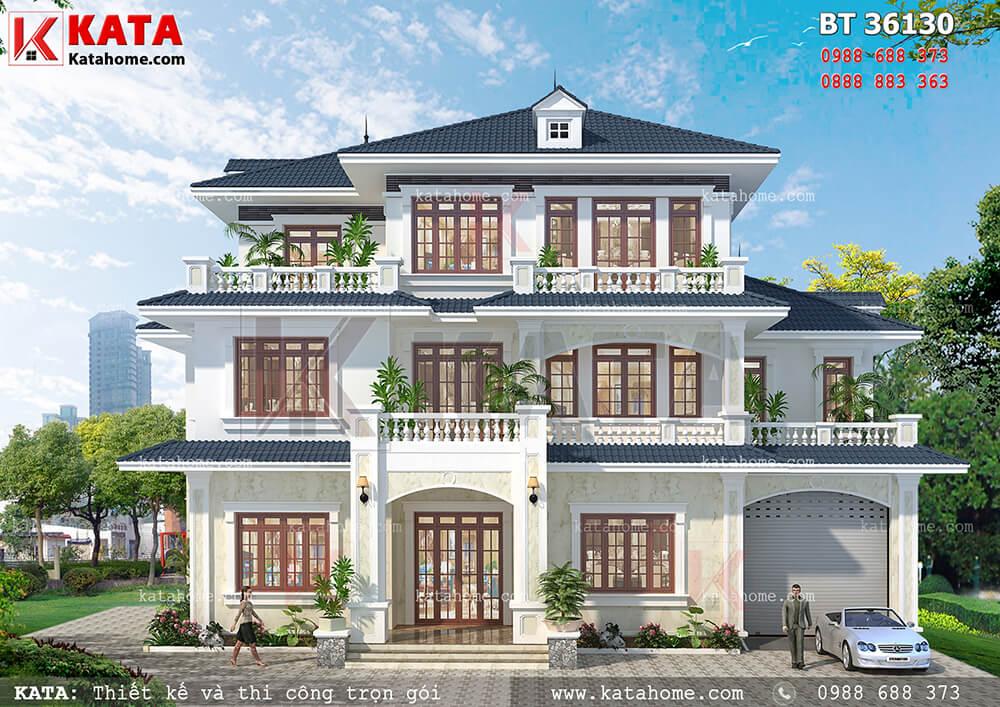 Phối cảnh mặt tiền của mẫu nhà 3 tầng mái Thái đẹp - Mã số: BT 36130