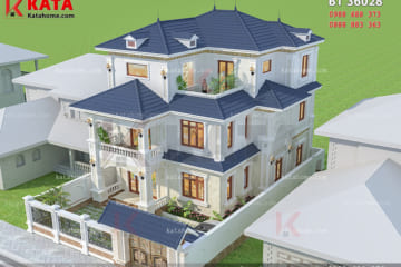 Phối cảnh tổng thể của mẫu nhà biet thu đẹp 3 tầng tại Móng Cái - Mã số: BT 36028