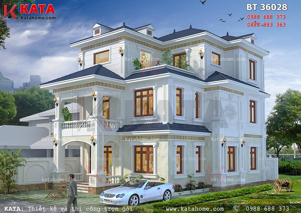 Mẫu nhà biệt thự đẹp 3 tầng kiểu Pháp tại Móng Cái – Mã số: BT 36028