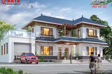 Phối cảnh tổng thể của mẫu thiết kế biệt thự nhà vườn 2 tầng đẹp tại Bắc Giang - Mã số: BT 21019