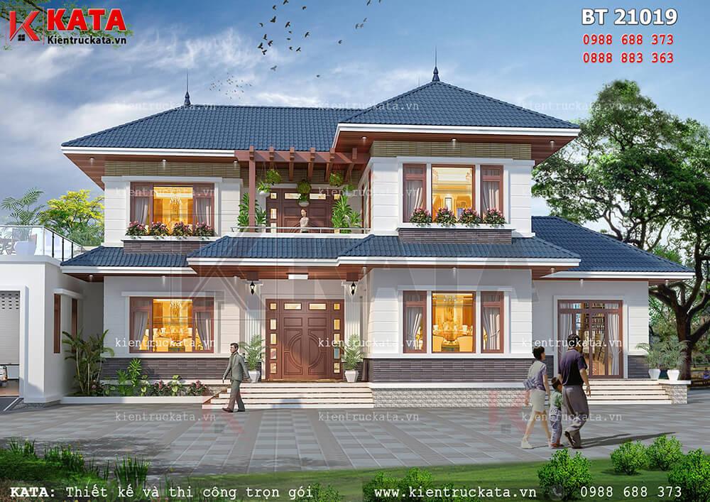 Phối cảnh chi tiết mặt tiền của mẫu biệt thự nhà vườn 2 tầng đẹp tại Bắc Giang - Mã số: BT 21019