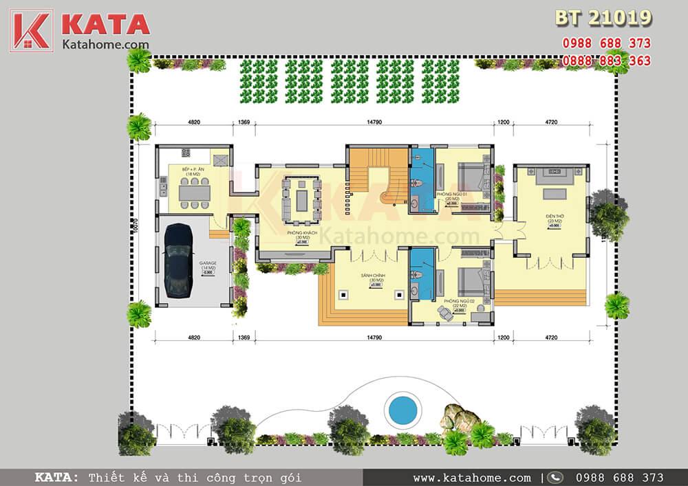 Mặt bằng công năng tầng 1 của mẫu thiết kế biệt thự nhà vườn 2 tầng đẹp