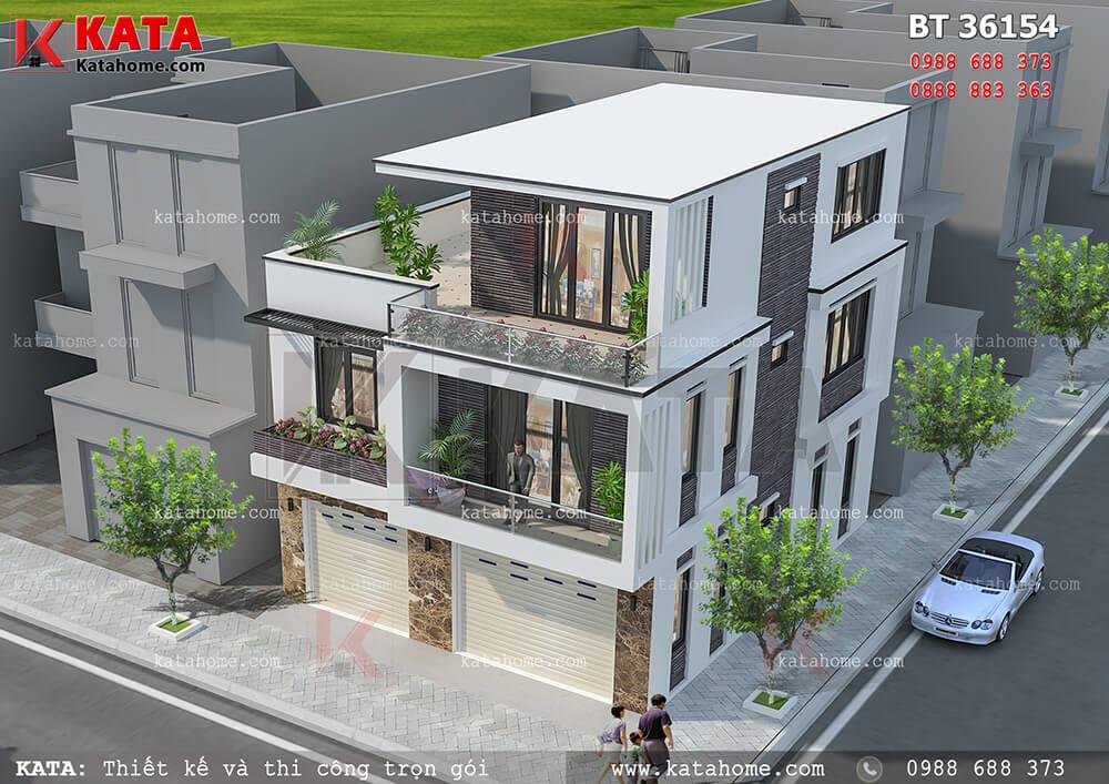 Hệ thống cửa kính được mở dày đặc giúp mẫu biệt thự hiện đại 3 tầng trở nên đẹp hoàn hảo