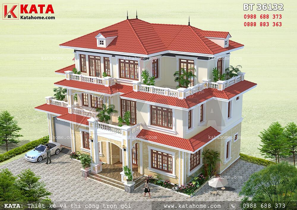 Hệ thống mái Thái đỏ tươi, sang trọng, đẳng cấp của mẫu nhà 3 tầng mái Thái - Mã số: BT 36132