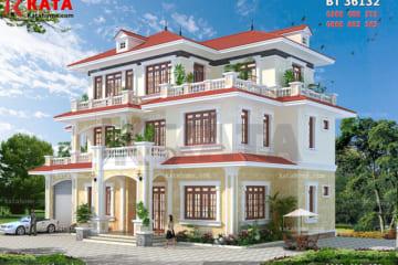 Hệ thống sân vườn giúp tôn lên vẻ đẹp sang trọng, đẳng cấp của mẫu nhà 3 tầng mái Thái