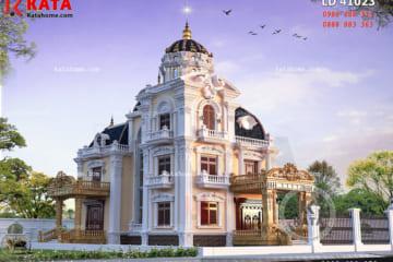 Phối cảnh 3D chi tiết không gian ngoại thất của mẫu biệt thự lâu đài đẹp 3 tầng cổ điển tại Nam Định - Mã số: LD 41023