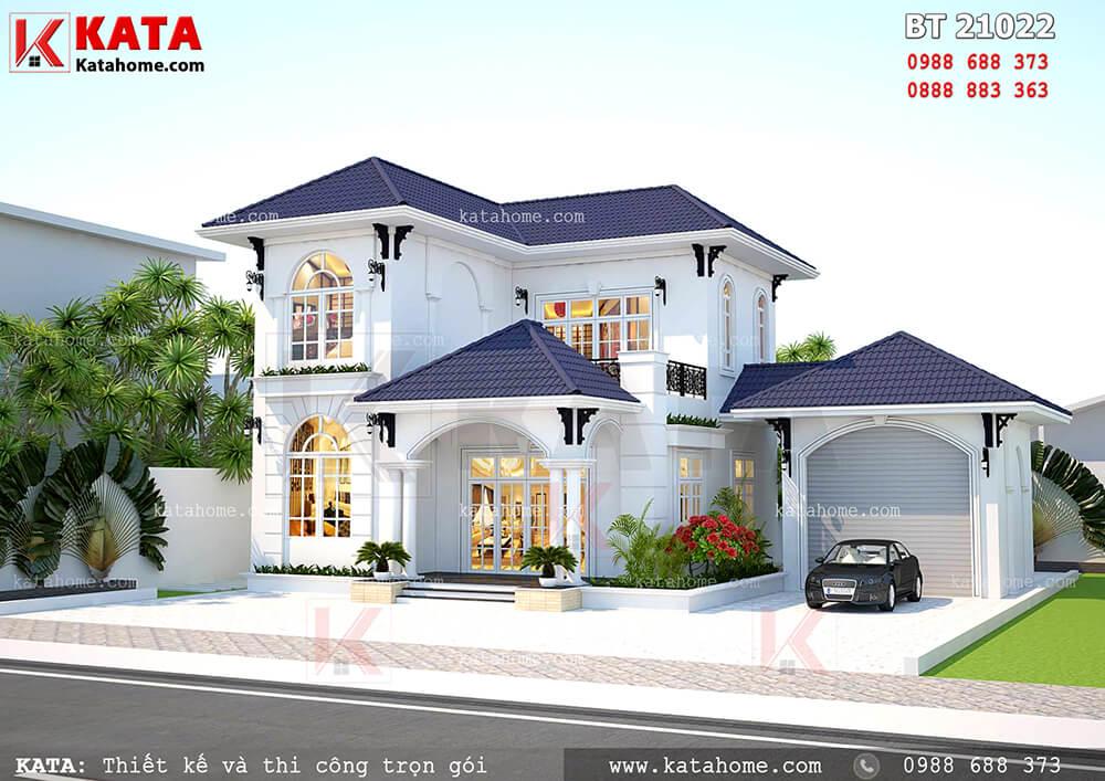 Mẫu nhà biệt thự mini 2 tầng được thiết kế theo phong cách kiến trúc hiện đại