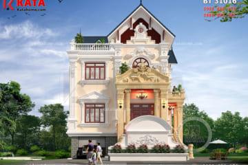 Phối cảnh 3D chi tiết của mẫu thiết kế nhà 3 tầng tân cổ điển đẹp tại Nam Định - Mã số: BT 31016