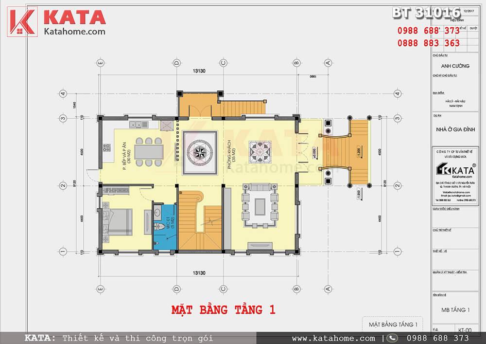 Bố cục công năng tầng 1 của mẫu thiết kế nhà 3 tầng tại Nam Định - Mã số: BT 31016
