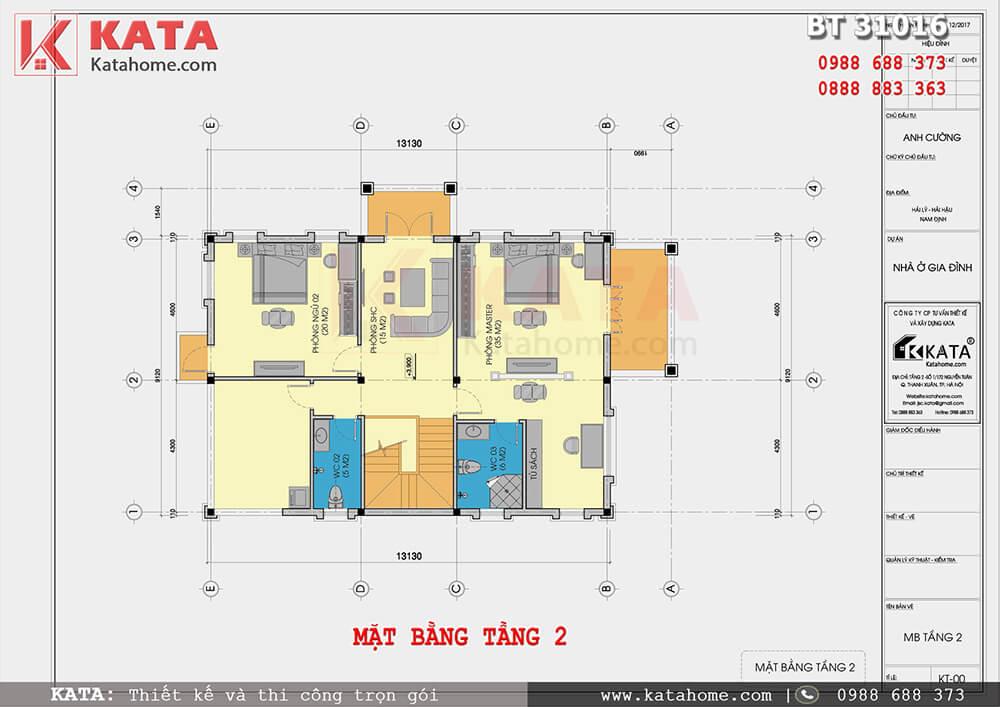 Bố cục công năng tầng 2 của mẫu thiết kế nhà 3 tầng tại Nam Định - Mã số: BT 31016