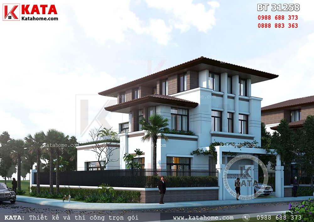 Thiết kế biệt thự đẹp phong cách hiện đại 3 tầng 2 mặt tiền tại Hạ Long – Mã số: BT 31258