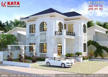 Phối cảnh chi tiết về phong cách thiết kế của mẫu biệt thự mini 2 tầng mái Thái tại Hòa Bình - Mã số: BT 21024