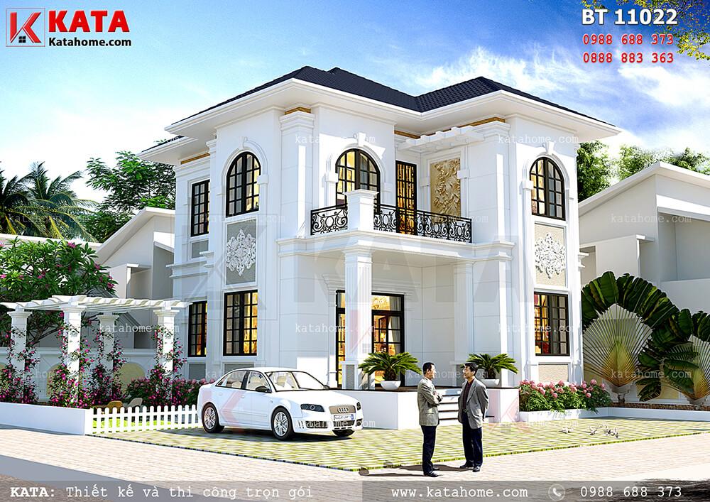 Thiết kế biệt thự mini 100m2 2 tầng kết hợp sân vườn – Mã số: BT 21024